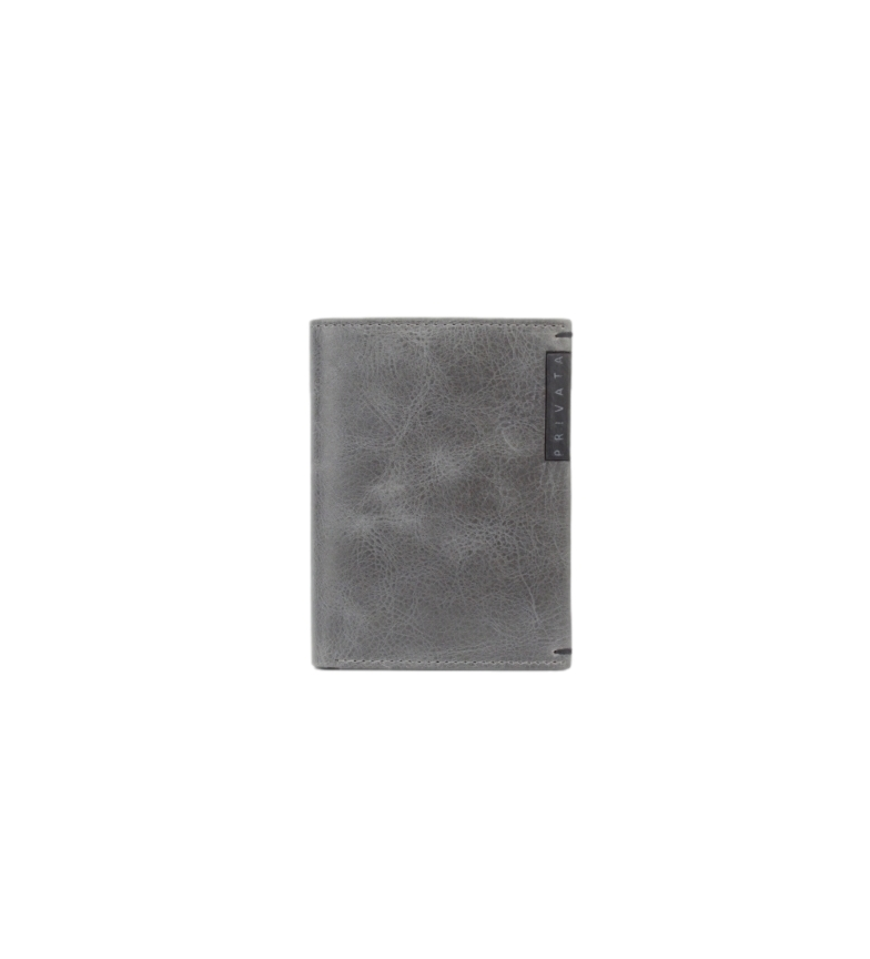 Privata Billetero de piel MHPR20198 gris -11x8x1cm-