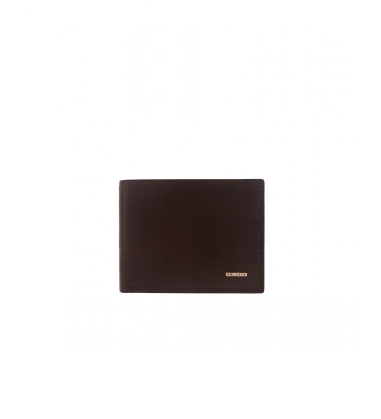 Privata Portefeuille en cuir MHPR11486 marron -8,5x11x1cm