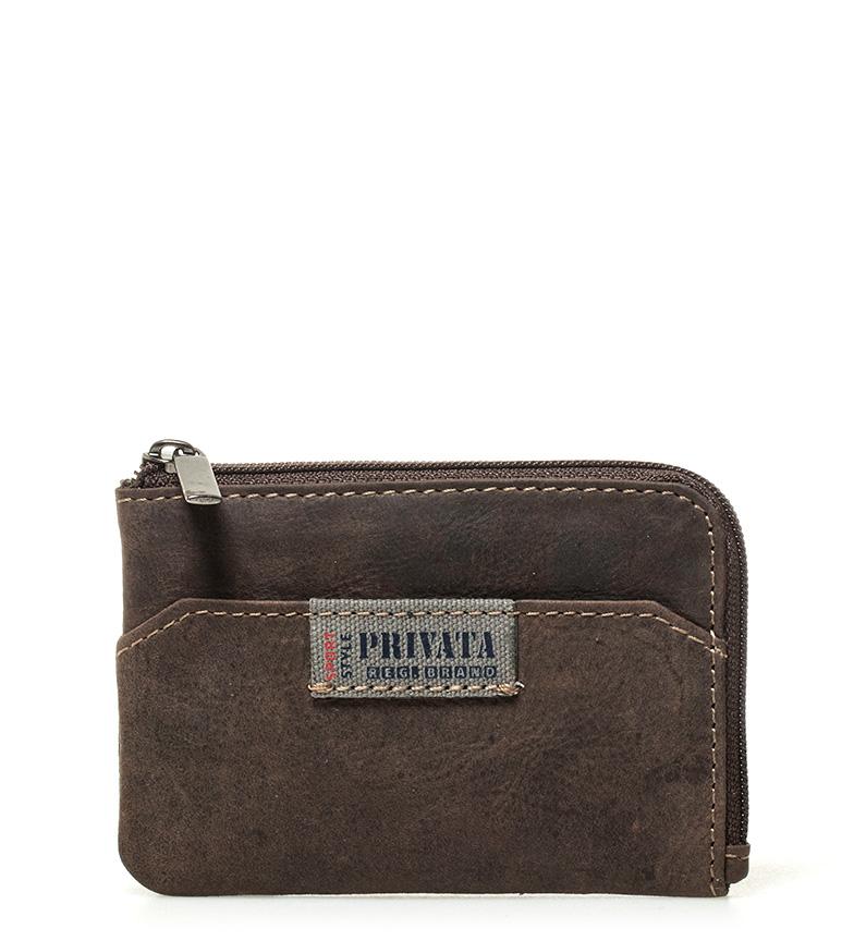 Comprar Privata Porta-moedas de couro marrom - 7x10,5cm-