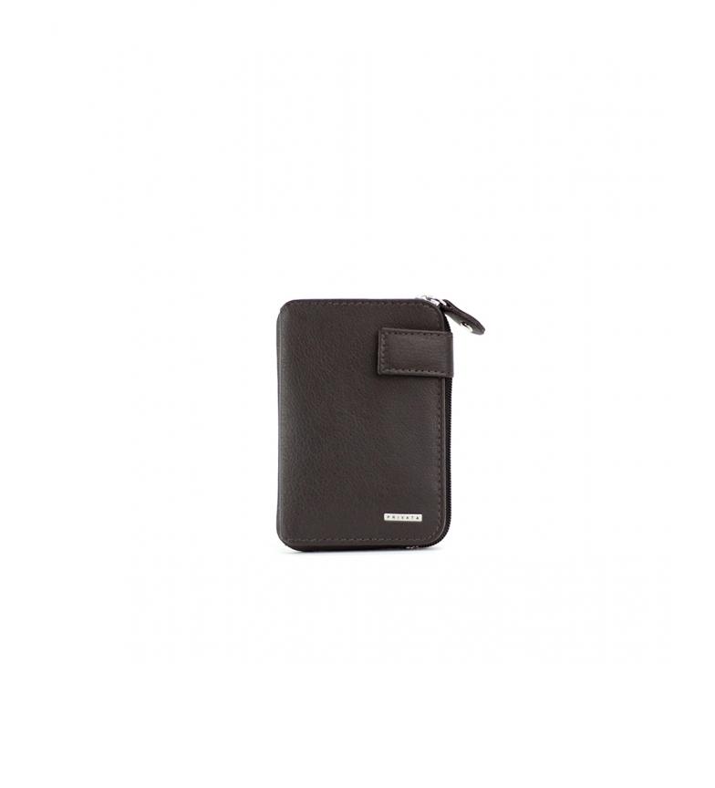 Privata Portefeuille en cuir MHPR11407 marron -10,5x6,5x1cm
