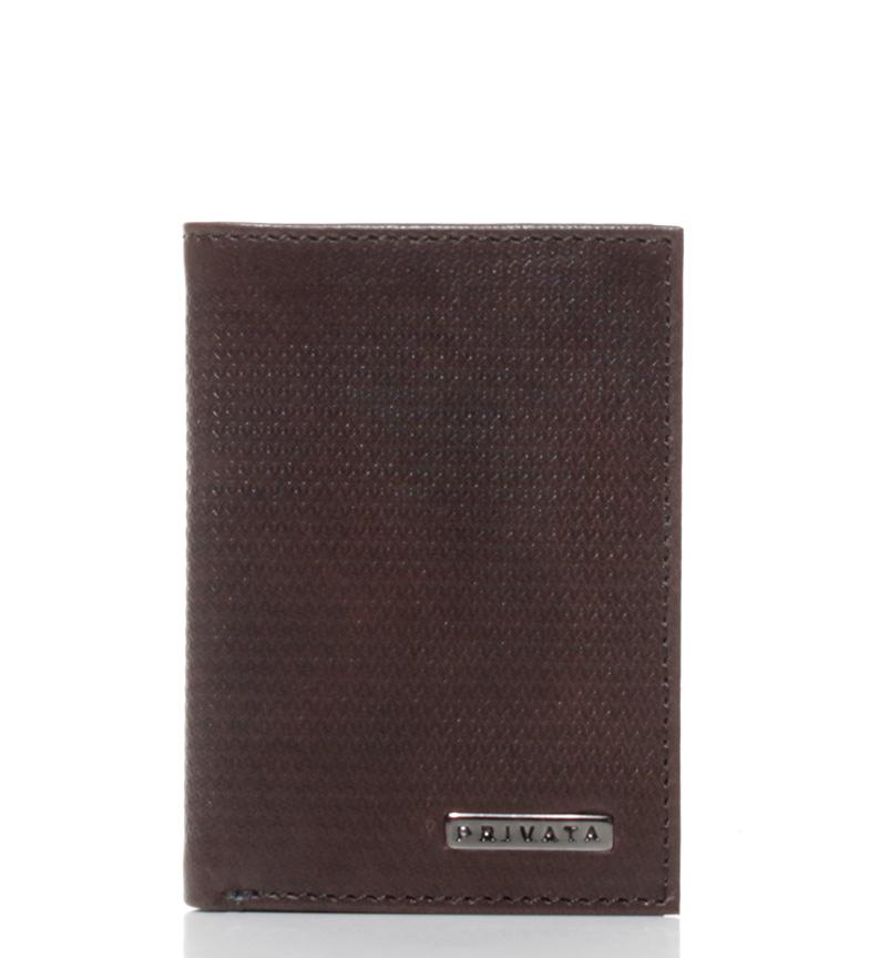Comprar Privata Leather Card Holder Vegetable Printed brown-10x7 cm-