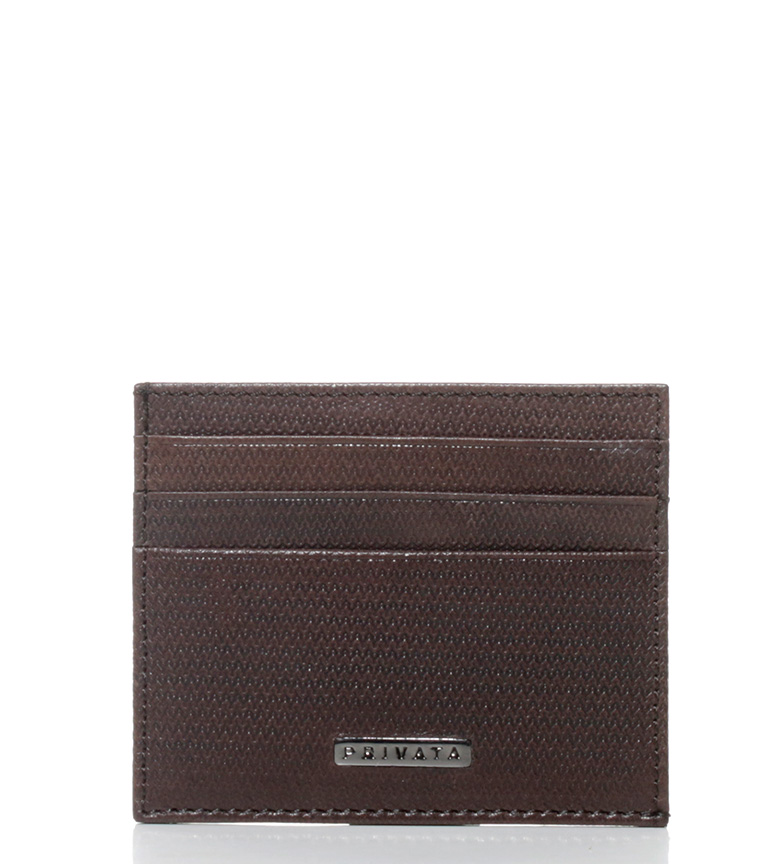 Comprar Privata Leather card holder Vegetable Printed brown-8x10 cm-