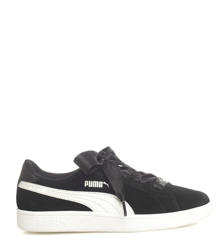 Puma-Zapatillas-de-piel-Smash-V2-Ribbon-Mujer-chica-Plano-Cordones-Casual-Rosa miniatura 11