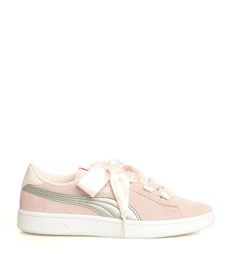Puma-Zapatillas-de-piel-Smash-V2-Ribbon-Mujer-chica-Plano-Cordones-Casual-Rosa miniatura 3