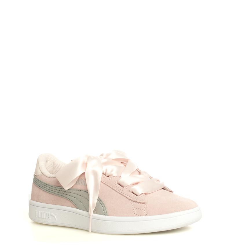 Puma-Zapatillas-de-piel-Smash-V2-Ribbon-Mujer-chica-Plano-Cordones-Casual-Rosa miniatura 4