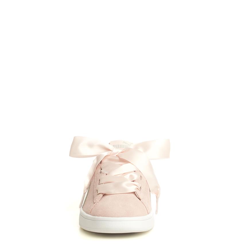 Puma-Zapatillas-de-piel-Smash-V2-Ribbon-Mujer-chica-Plano-Cordones-Casual-Rosa miniatura 5