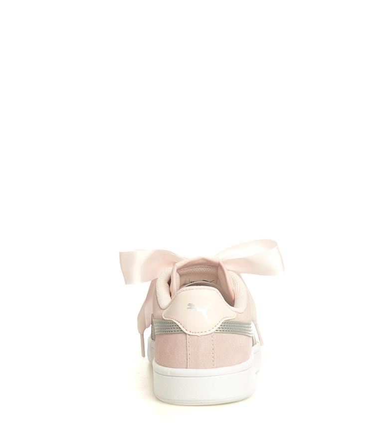 Puma-Zapatillas-de-piel-Smash-V2-Ribbon-Mujer-chica-Plano-Cordones-Casual-Rosa miniatura 6