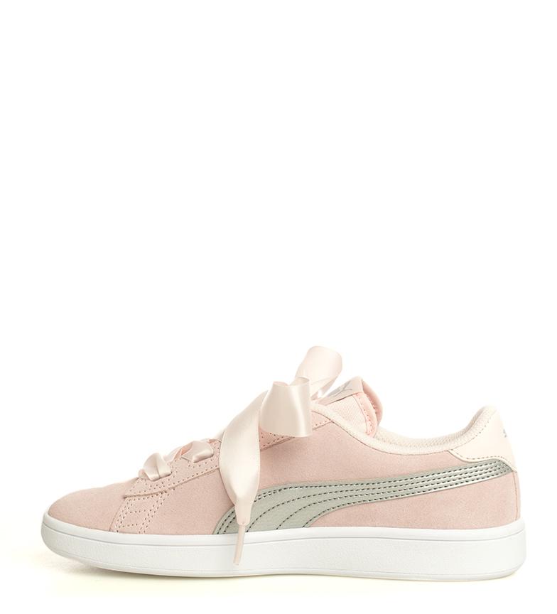 Puma-Zapatillas-de-piel-Smash-V2-Ribbon-Mujer-chica-Plano-Cordones-Casual-Rosa miniatura 7