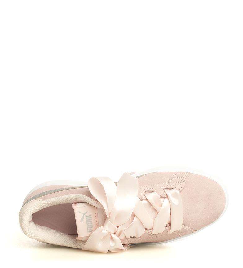 Puma-Zapatillas-de-piel-Smash-V2-Ribbon-Mujer-chica-Plano-Cordones-Casual-Rosa miniatura 8
