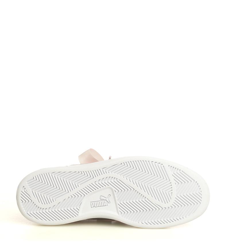 Puma-Zapatillas-de-piel-Smash-V2-Ribbon-Mujer-chica-Plano-Cordones-Casual-Rosa miniatura 9