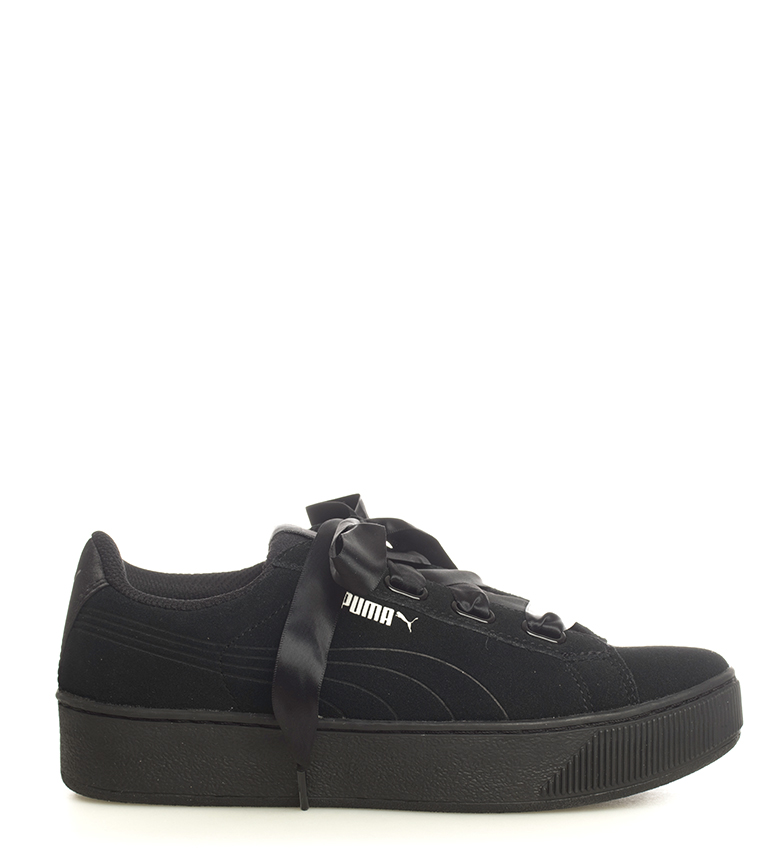Puma-Zapatillas-de-piel-Vikky-Platform-Ribbon-S-Mujer-chica-Azul-Negro-Plano miniatura 11