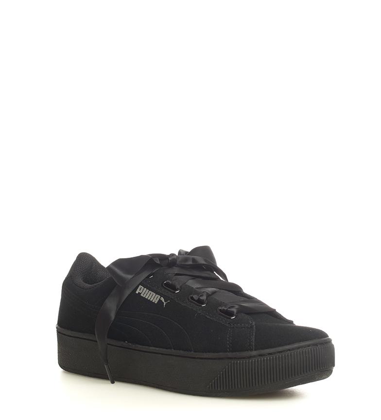 Puma-Zapatillas-de-piel-Vikky-Platform-Ribbon-S-Mujer-chica-Azul-Negro-Plano miniatura 12