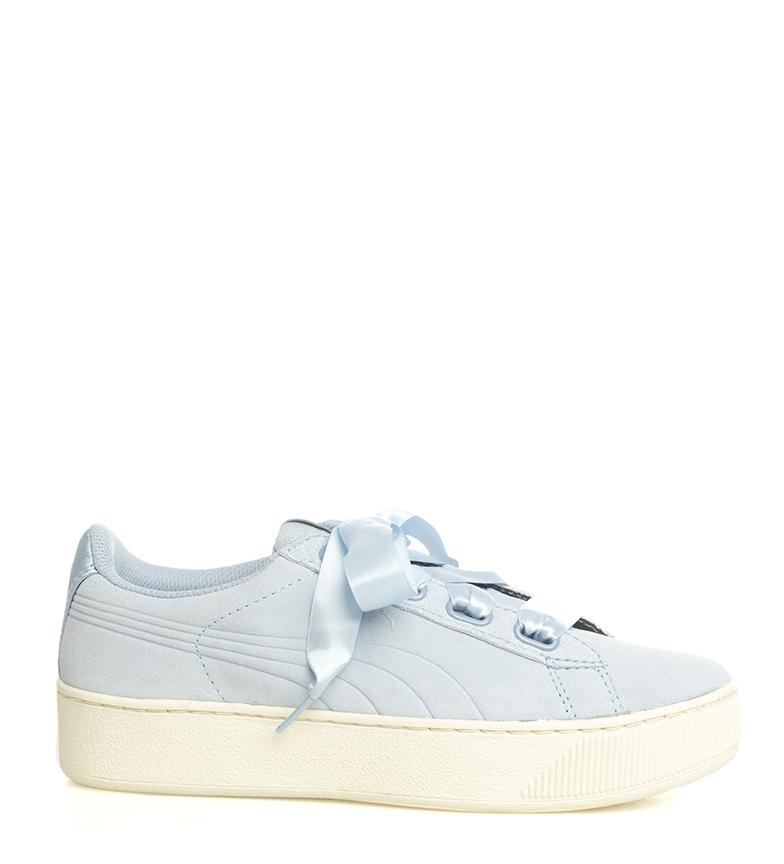 Puma-Zapatillas-de-piel-Vikky-Platform-Ribbon-S-Mujer-chica-Azul-Negro-Plano miniatura 3
