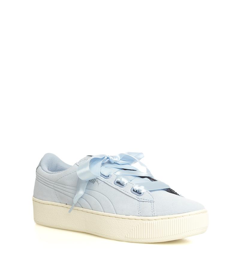Puma-Zapatillas-de-piel-Vikky-Platform-Ribbon-S-Mujer-chica-Azul-Negro-Plano miniatura 4