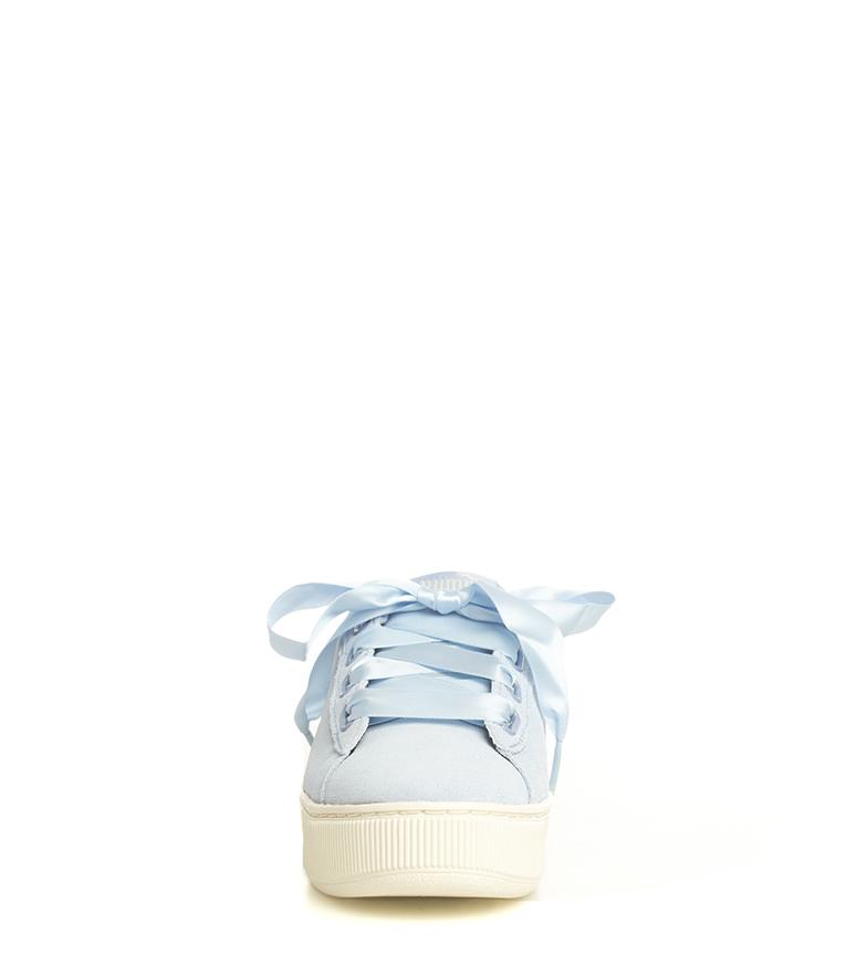 Puma-Zapatillas-de-piel-Vikky-Platform-Ribbon-S-Mujer-chica-Azul-Negro-Plano miniatura 5