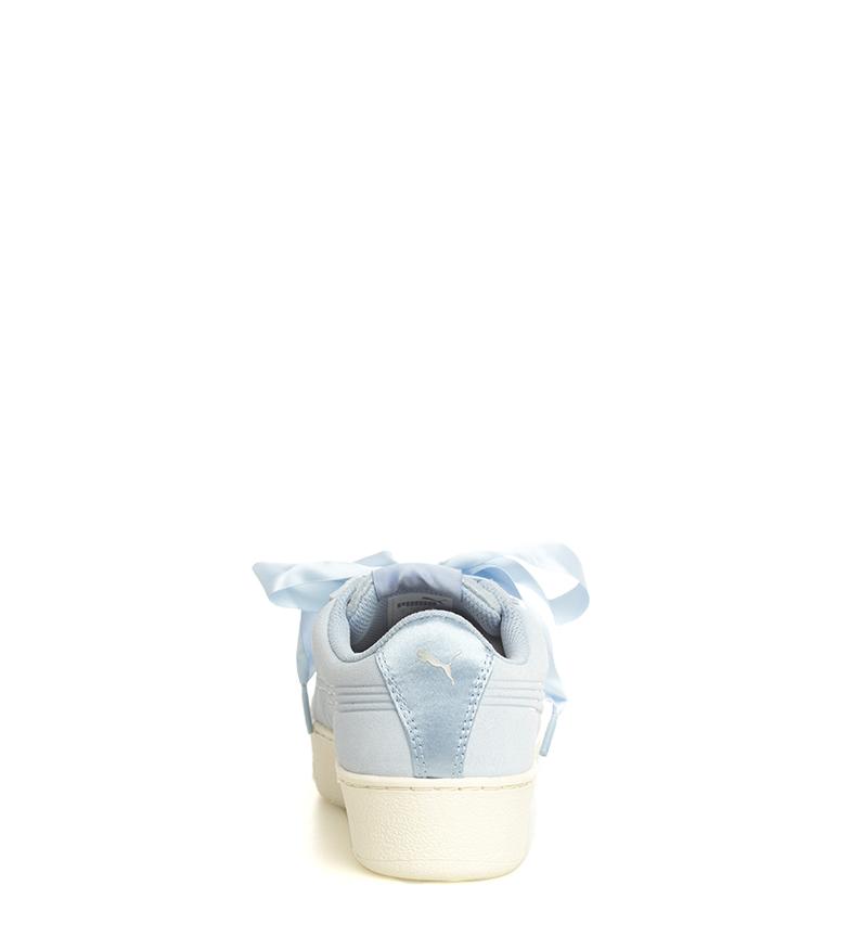 Puma-Zapatillas-de-piel-Vikky-Platform-Ribbon-S-Mujer-chica-Azul-Negro-Plano miniatura 6