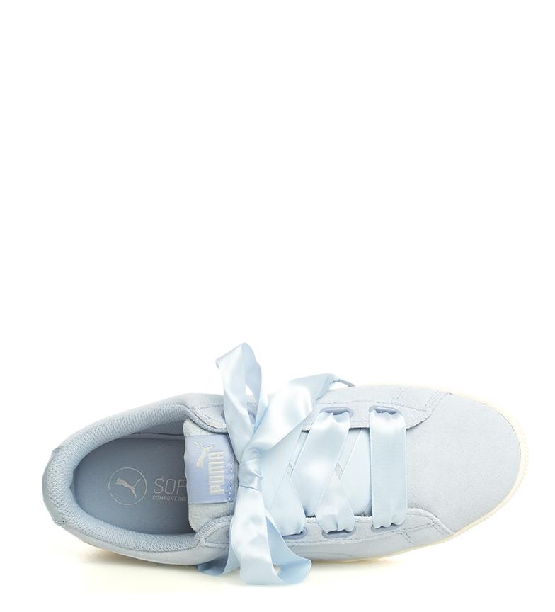 Puma-Zapatillas-de-piel-Vikky-Platform-Ribbon-S-Mujer-chica-Azul-Negro-Plano miniatura 8