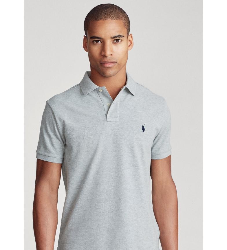 Ralph Lauren Polo slim fit in piqué personalizzata SSKCCMSLM1 grigio