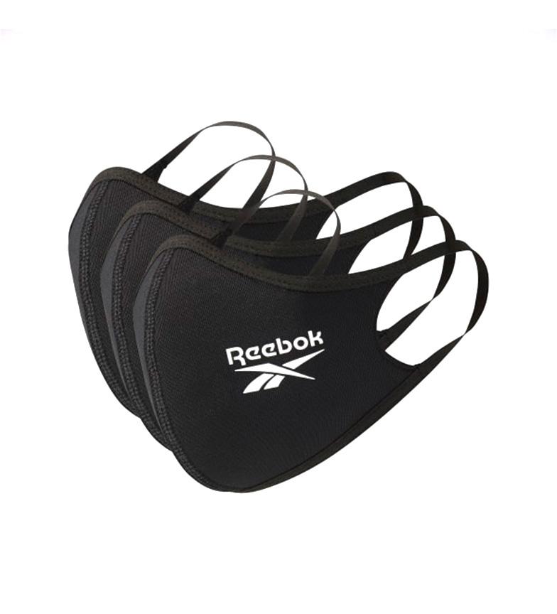 Reebok Confezione da 3 maschere nere piccole