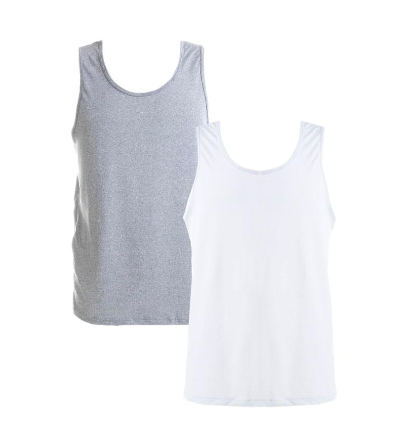 Comprar Reebok Pack de 2 Camisetas Viktor gris jaspeado, blanco