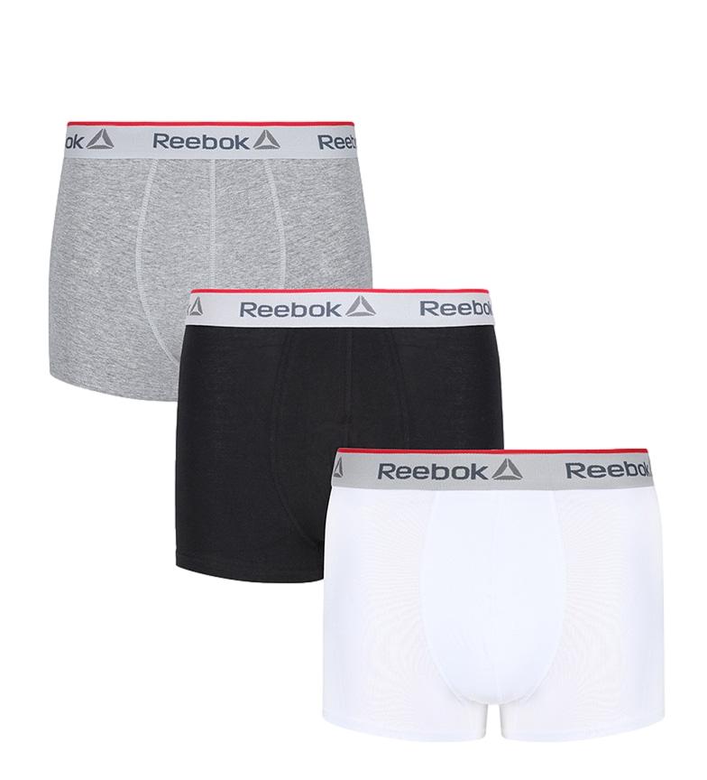 Comprar Reebok Confezione da 3 boxer Ovett grigio, nero, bianco