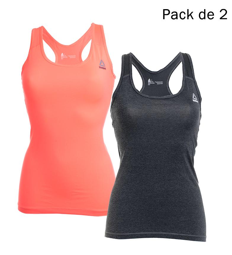 Comprar Reebok Pack de 2 Camisetas Katlyn gris melange, naranja fluor