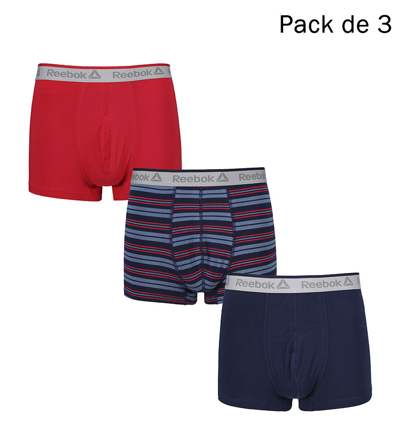 Comprar Reebok Pack of 3 Tyson marine boxers, printed, red