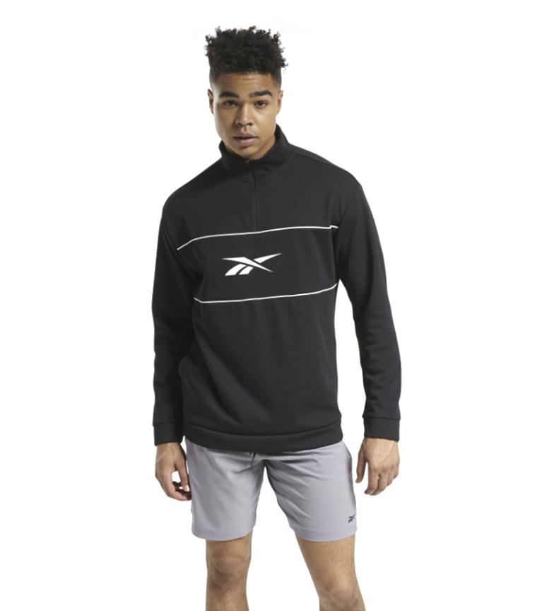 Comprar Reebok Felpa con cappuccio e zip 1/4 a doppia maglia nera pronta per l'allenamento