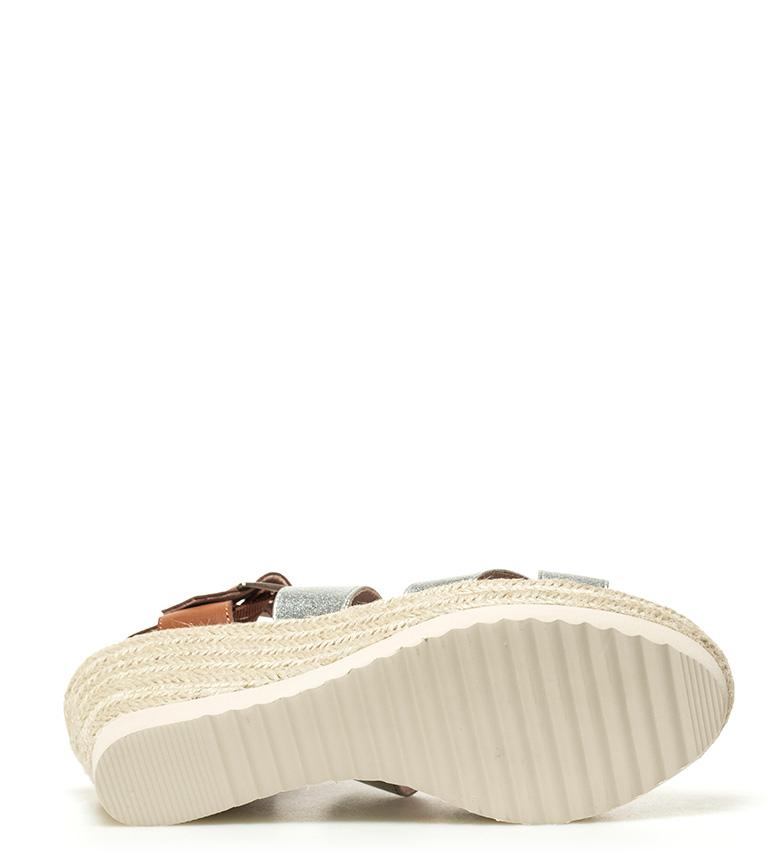 Xti-Sandalo-Elvia-argento-Altezza-cuneo-7-5-cm-Donna-Rosa-Bronzo-Oro miniatura 8