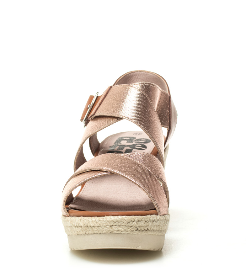 Xti-Sandalo-Elvia-argento-Altezza-cuneo-7-5-cm-Donna-Rosa-Bronzo-Oro miniatura 11