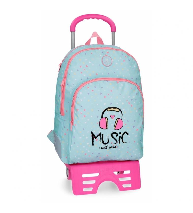 Comprar Roll Road School bag Roll Roll Road Music compartimento duplo com carrinho -33x44x13x13,5cm