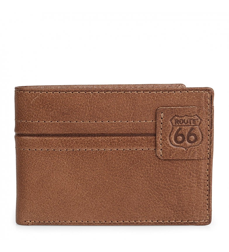 Comprar ROUTE 66 Leather wallet Route 66 brown -11x8cm