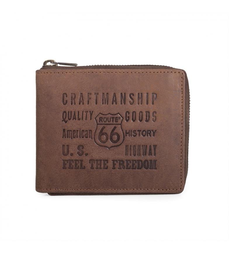 Comprar ROUTE 66 Portefeuille en cuir New Hampshire Route 66 avec fermeture éclair marron -10,5x8,5x2 cm-
