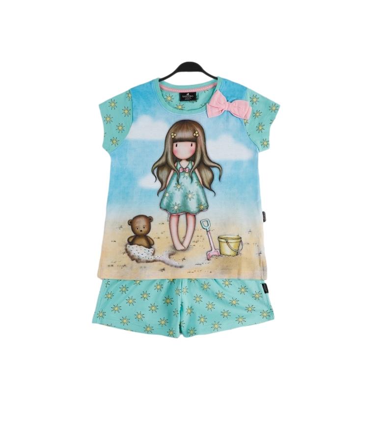 Santoro Pyjama à manches courtes Hello Summer bleu
