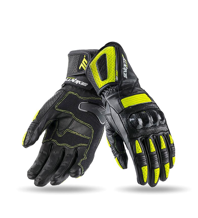 Comprar Seventy Luvas de couro SD-R20 Racing preto, amarelo