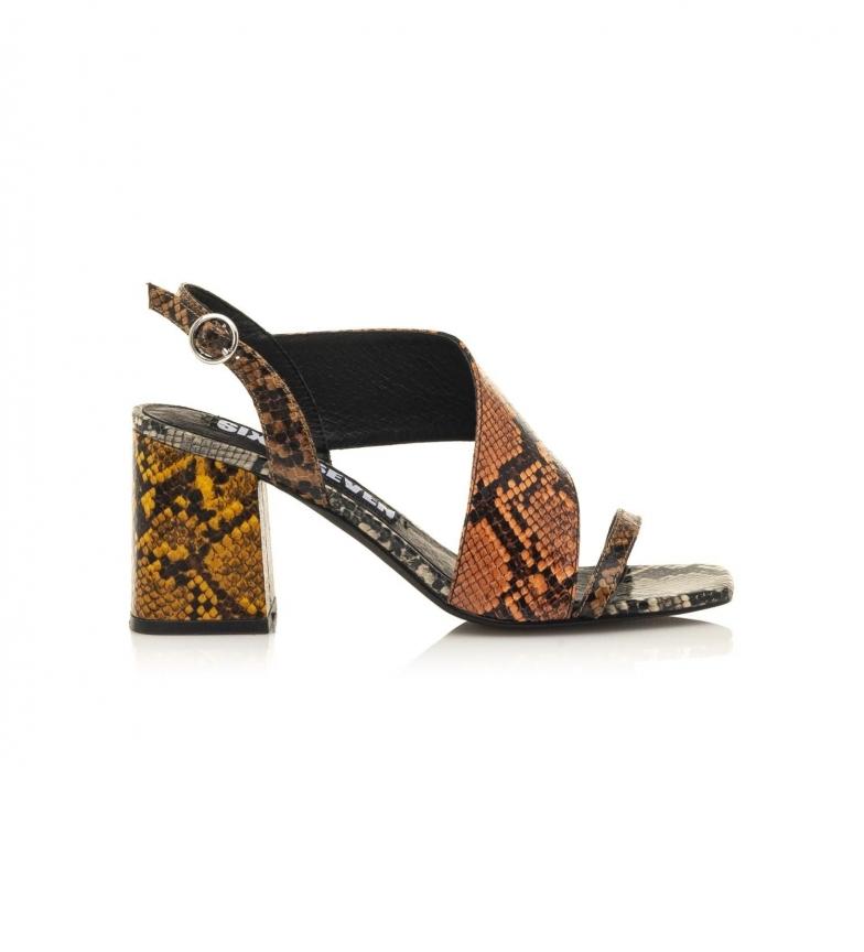 Comprar SixtySeven Nerit orange leather sandals -Height heel: 8,5 cm