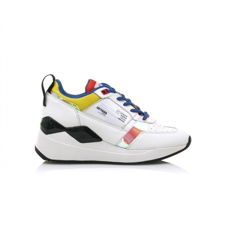 Comprar SixtySeven Sneakers Waseda in pelle bianca e multicolore-Altezza zeppa: 6cm-