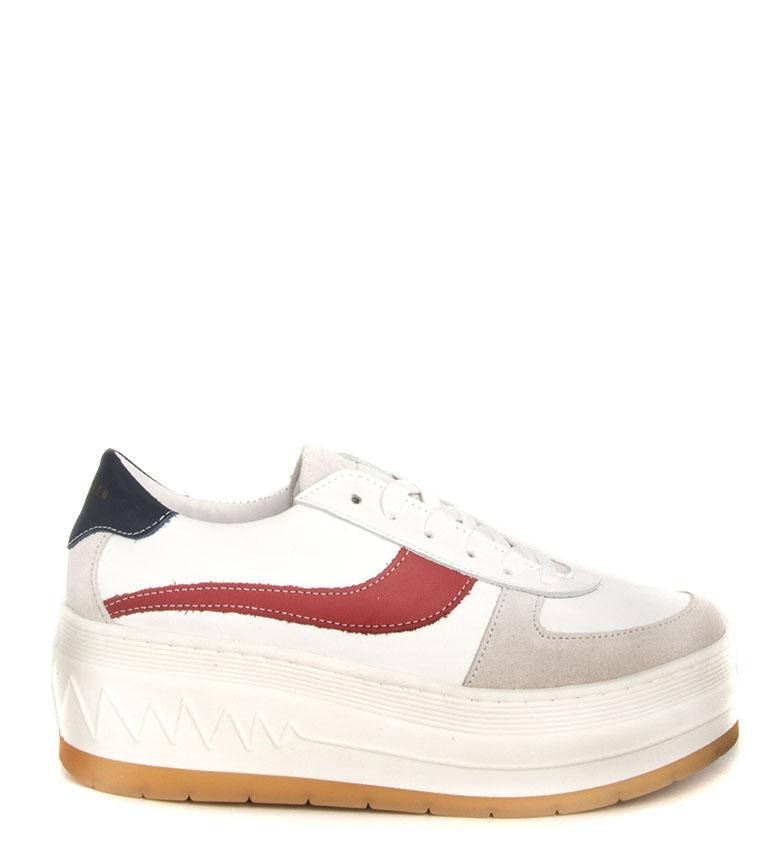 Comprar SixtySeven Rimanere scarpe di pelle bianca, rosso - Altezza piattaforma: 6 cm-