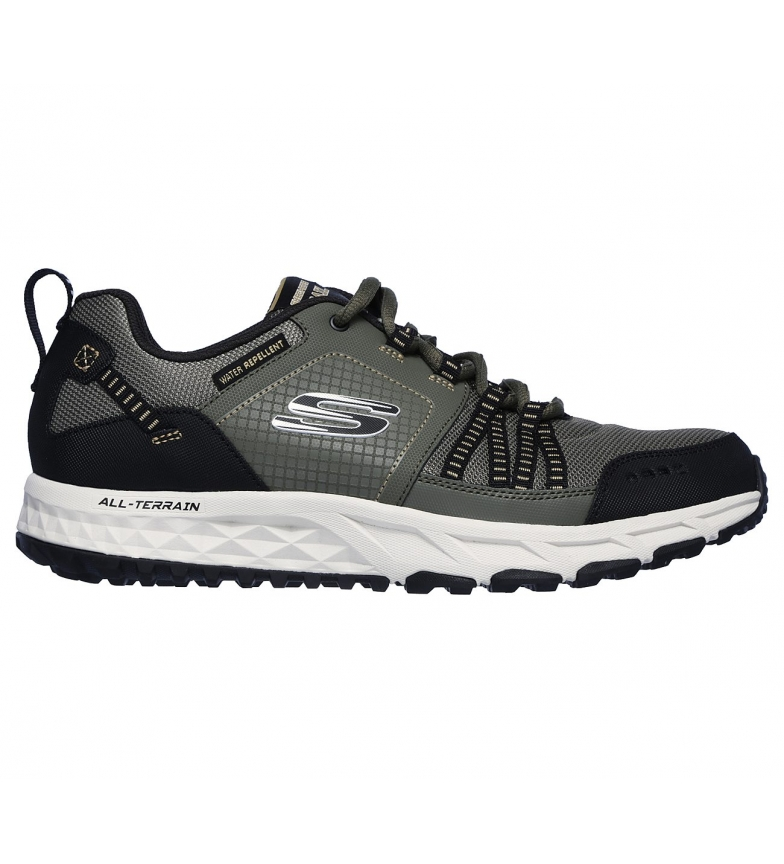 Skechers Escape Plan olive leather sneakers, green