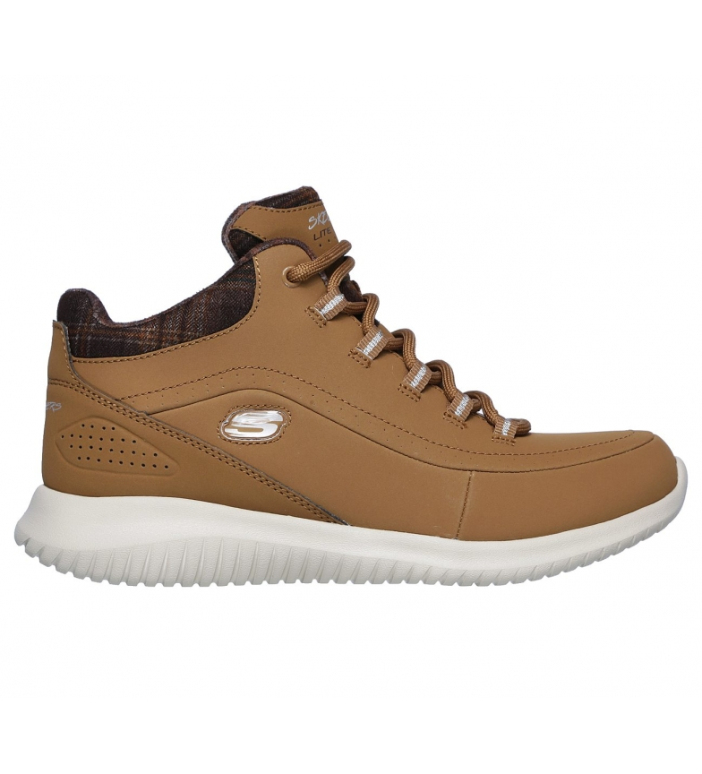 Skechers Ultra Flex Just Chill brown leather booties