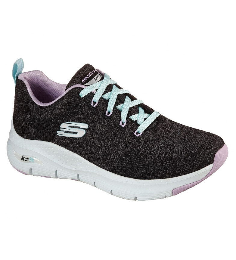 Comprar Skechers Scarpe ad arco comode e comode, nero, lavanda