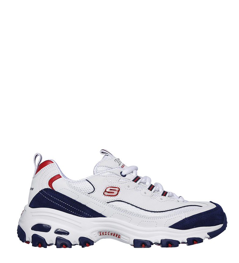 Comprar Skechers D'Lites March Forward tênis de couro branco, marinho