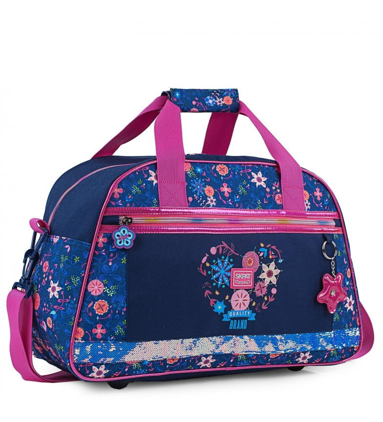Skpat Personalized Girl's Gym Bag with Floral Patterns 131545 navy blue -45x28x20cm
