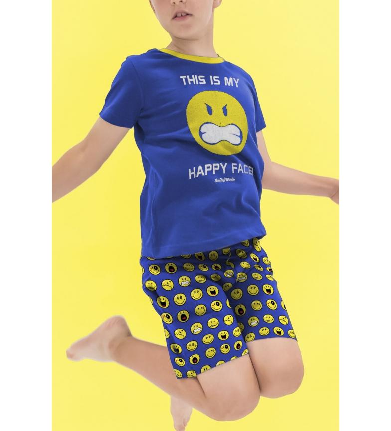 Comprar SMILEY Pijama Manga Corta Face azul