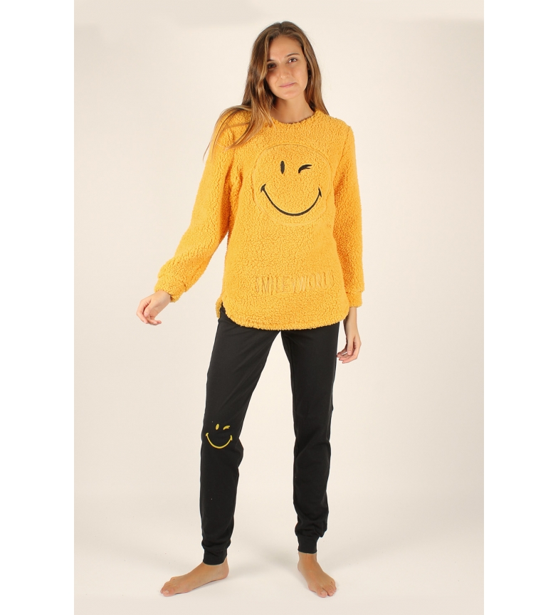 Comprar SMILEY Pijama Manga Larga Calentito de Borreguito Smiley Better mostaza
