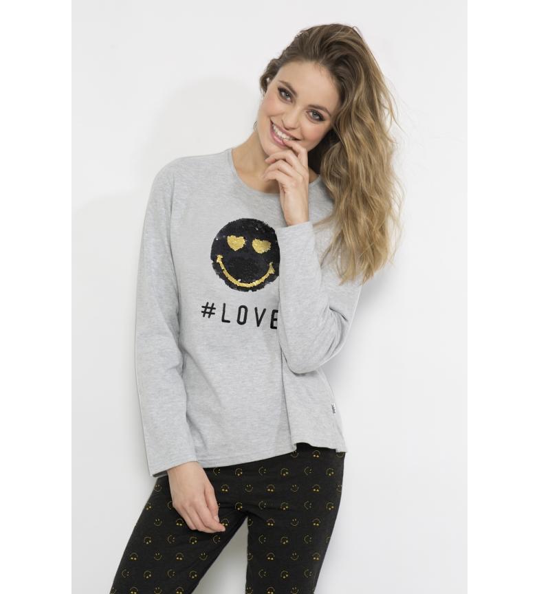 Comprar SMILEY Pijama Manga Larga Golden Love gris