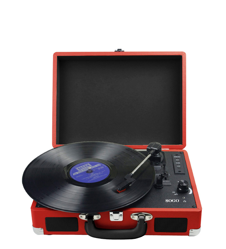 Comprar Sogo Tocadiscos estilo maleta con reproductor CD, Mp3 con bluetooth multimedia color rojo