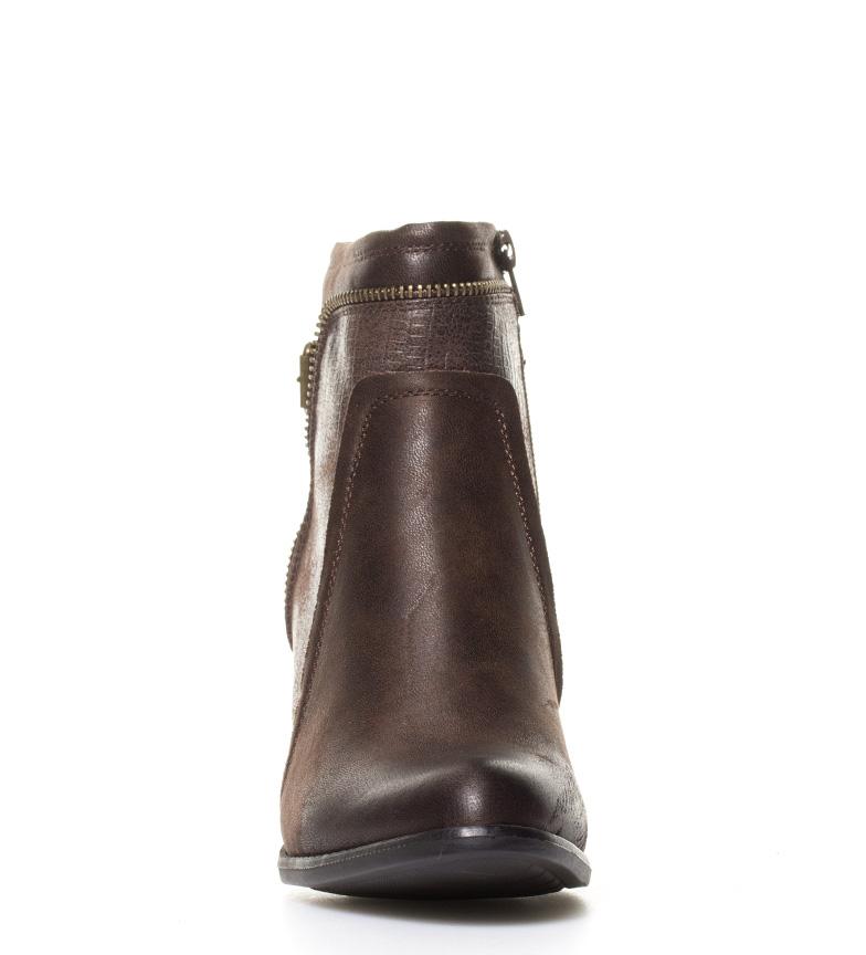 5cm Sonnax Botines Hanna br Altura piel efecto 7 detalles con br marrón tacón serpiente gwanCOqw