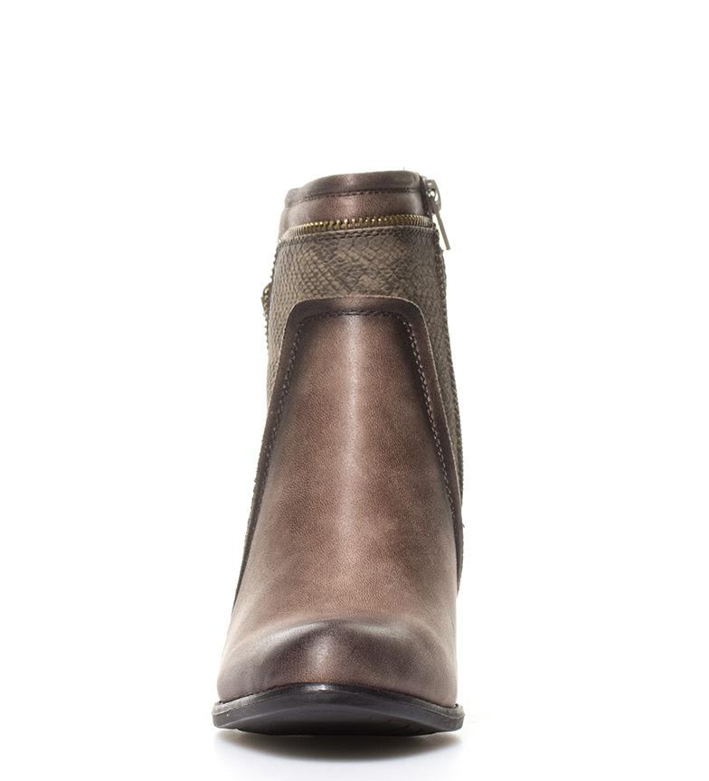 Sonnax Hanna con taupe 5cm Altura piel 7 tacón br detalles Botines br efecto serpiente r5nUWrp