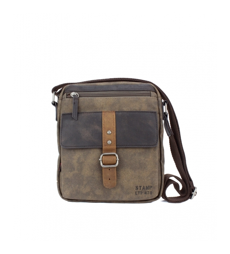 Comprar Stamp Leather shoulder bag BHST04722MA dark brown -25x21x5cm